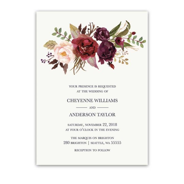 Floral Watercolor Wedding Invitations Burgundy Wine