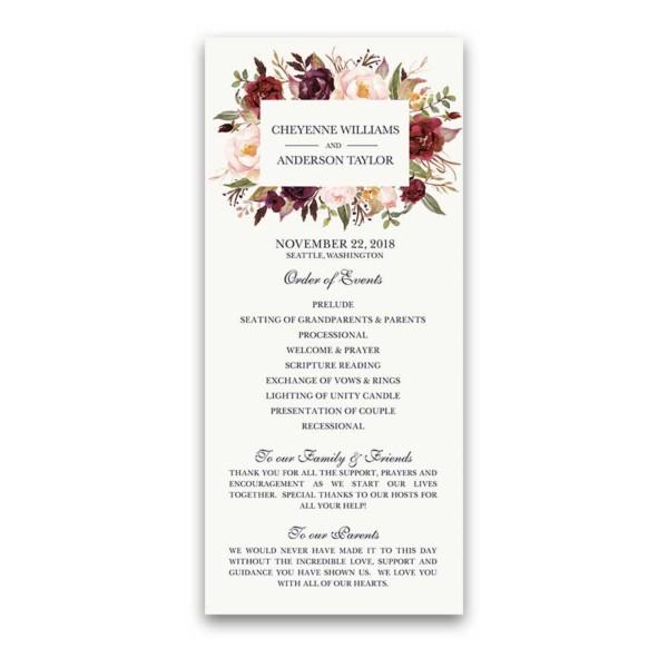 Floral Wedding Program Burgundy Wine Watercolor