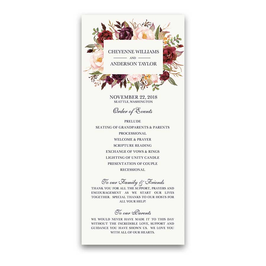 Floral Wedding Program Burgundy Wine Watercolor