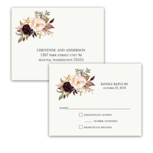 Floral Wedding RSVP Postcards Watercolor Flowers