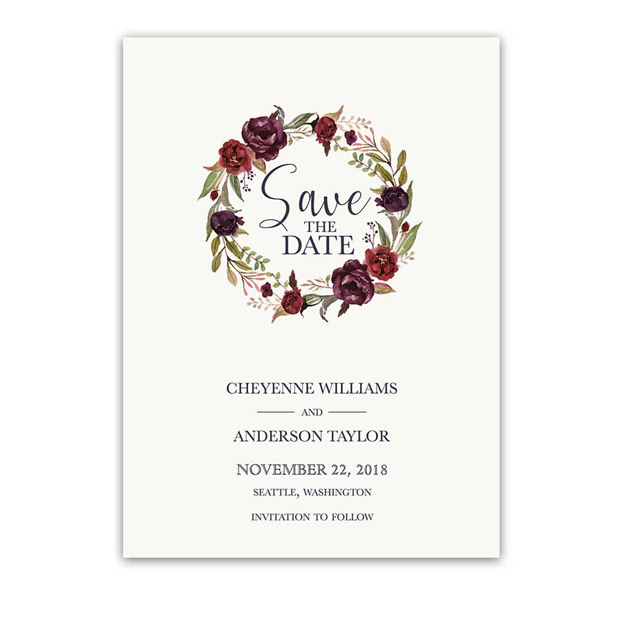 Save the Date Cards Wine Burgundy Floral Wreath