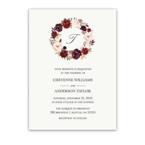 Floral Wreath Wedding Invitations Burgundy Wine