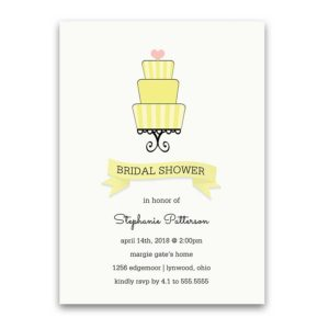 Rustic Wedding Shower Invitations Lemon Yellow Cake