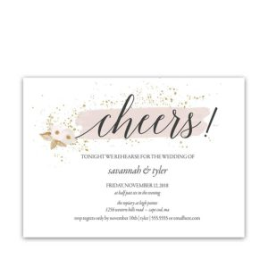 Blush Gold Wedding Rehearsal Dinner Invitations Cheers