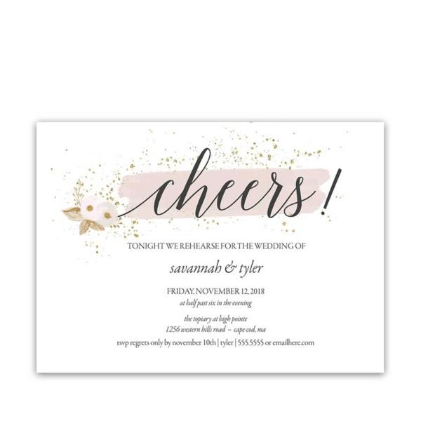 Blush Gold Wedding Rehearsal Dinner Invitations Cheers