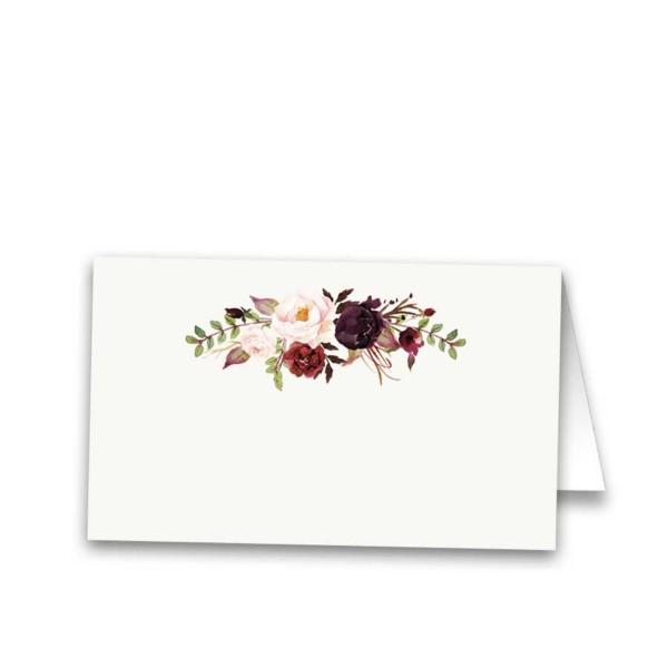 Floral Wedding Escort Seating Cards Burgundy Wine