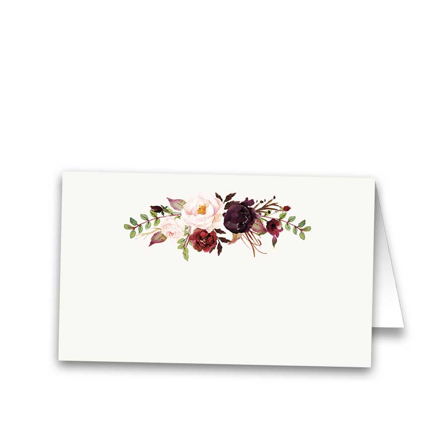 Floral Wedding Escort Seating Cards Burgundy Wine