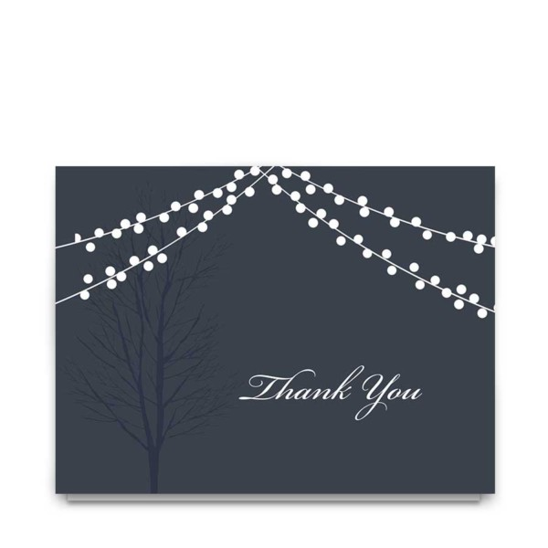 Wedding Thank You Cards Navy Blue String Lights