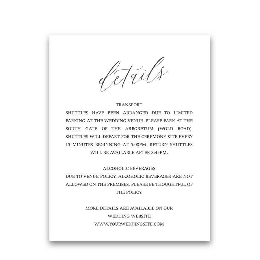 Calligraphy Wedding Guest Information Enclosure Cards