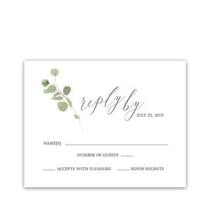 Calligraphy Wedding RSVP Cards Eucalyptus Sprigs