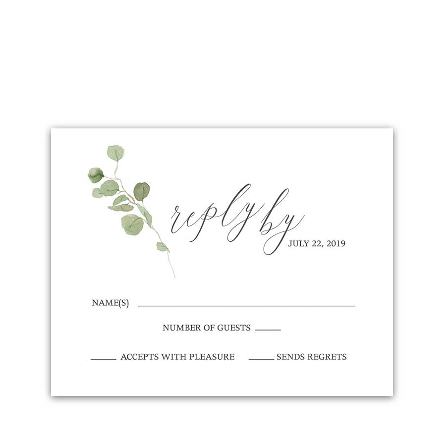 Save The Date Postcards Calligraphy Watercolor Eucalyptus