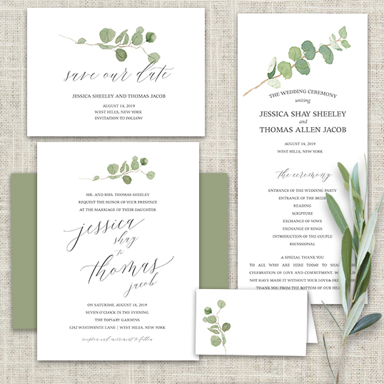 Calligraphy Wedding Invitations Greenery Eucalyptus Garland