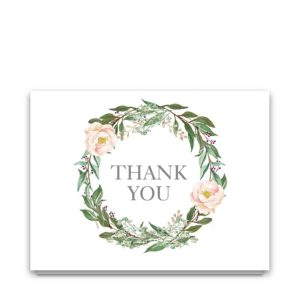 Wedding Thank You Cards Blush Greenery Floral Wreath