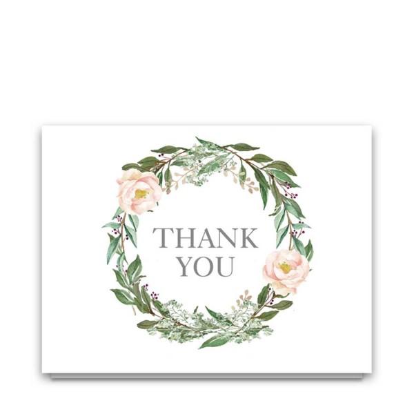 Wedding Thank You Cards Blush Greenery Floral Wreath