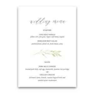 Custom Wedding Menu Watercolor Greenery Garland