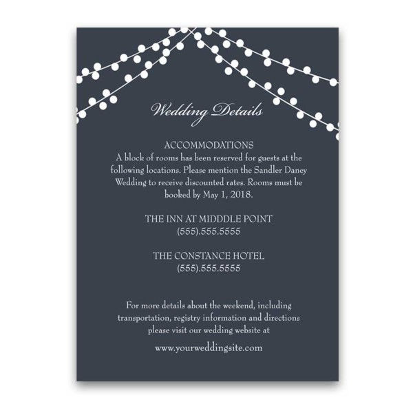 Wedding Details Cards Navy Blue with String Lights