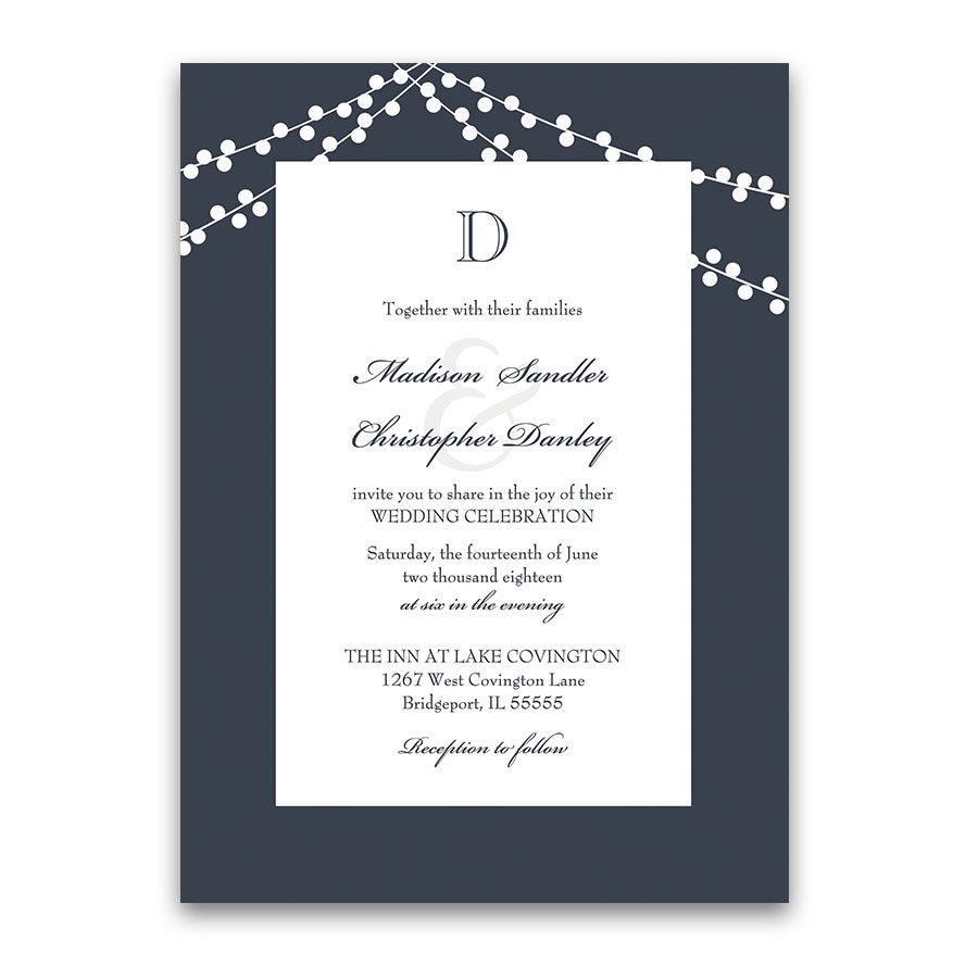 Monogram Navy Blue Wedding Invitations Rustic String Lights