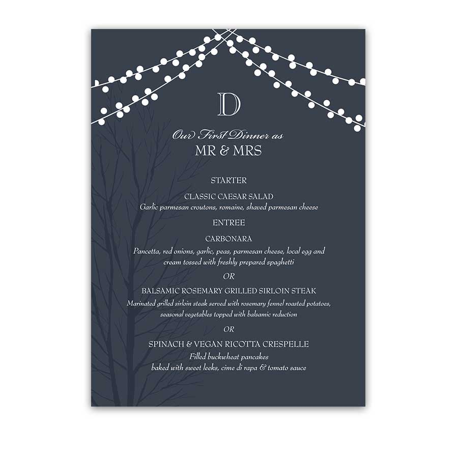 Wedding Dinner Menu Cards Navy Blue Rustic Wedding