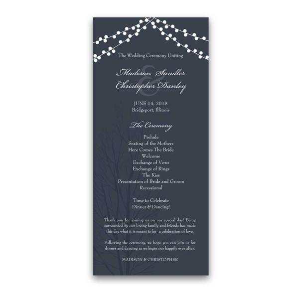 Monogram Navy Blue Wedding Invitations with Rustic String Lights