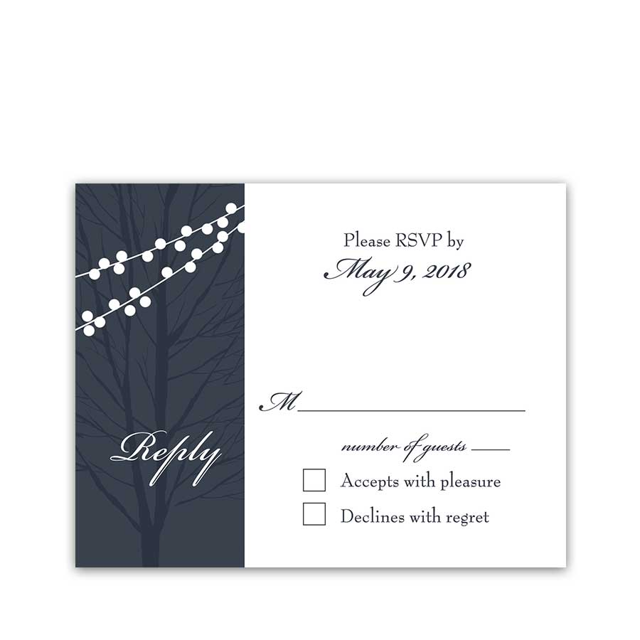Wedding Response Cards Navy Blue String Lights RSVP