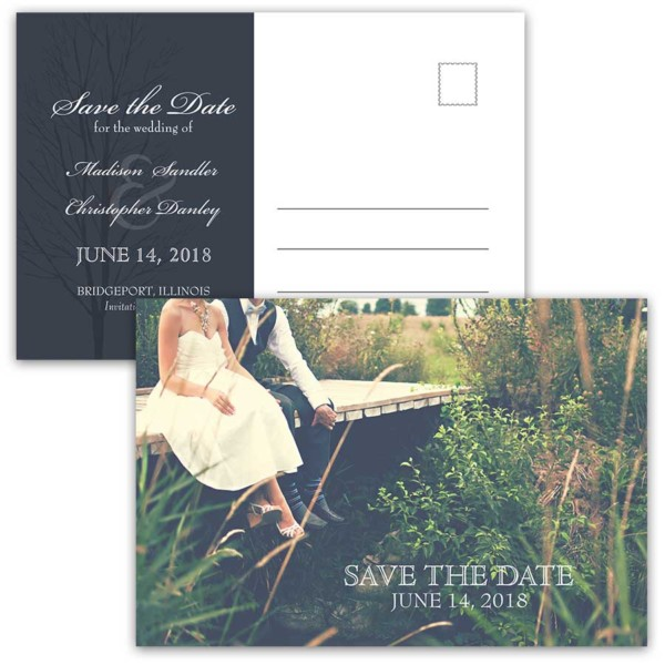 Save the Date Postcards Wedding Photo Rustic Navy Blue
