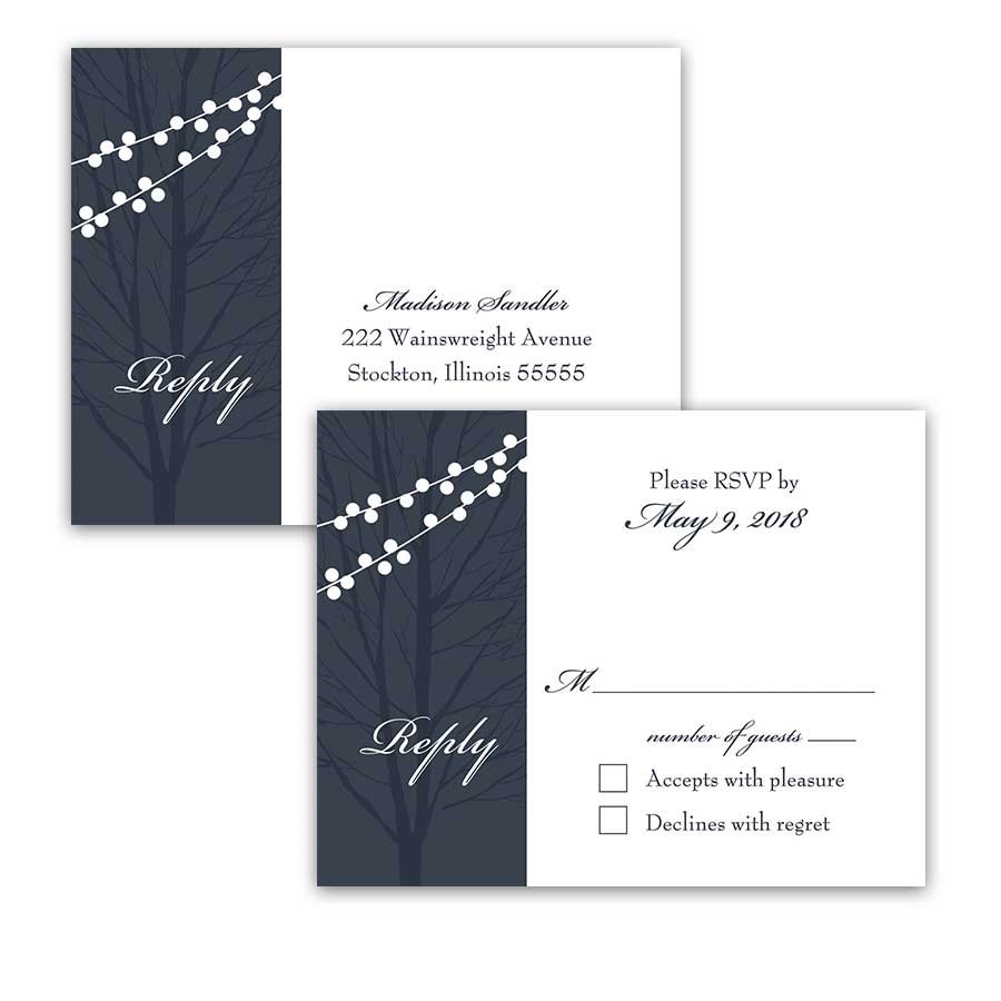 Wedding Response Postcards Navy Blue String Lights