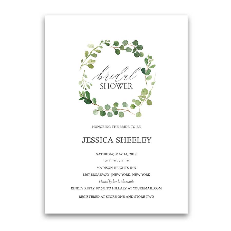 Wedding shower invitations eucalyptus greenery wreath filmwisefo