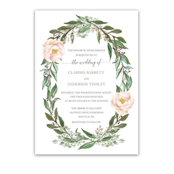 Floral Wedding Invitations Greenery Blush Flower Wreath