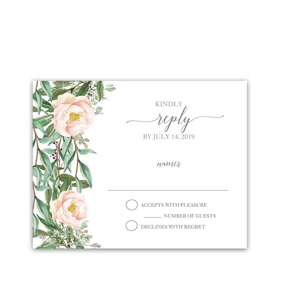 Wedding Response Cards Blush Floral and Greenery
