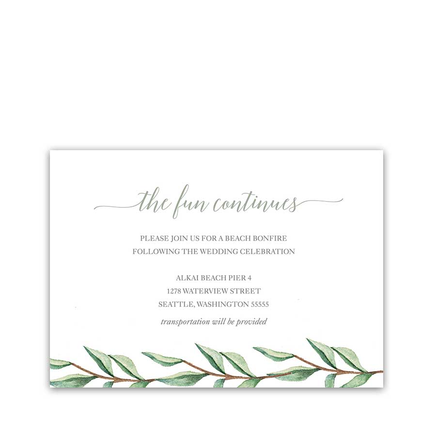 Greenery Wedding Reception Details Insert Cards