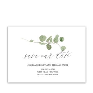 Calligraphy Script Save the Date Cards Eucalyptus Greenery