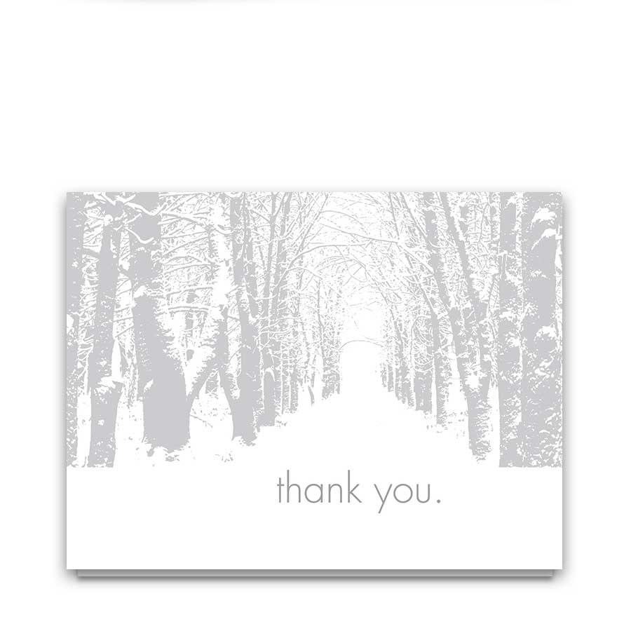 Winter Wedding Thank You Cards Oak Tree Silhouette
