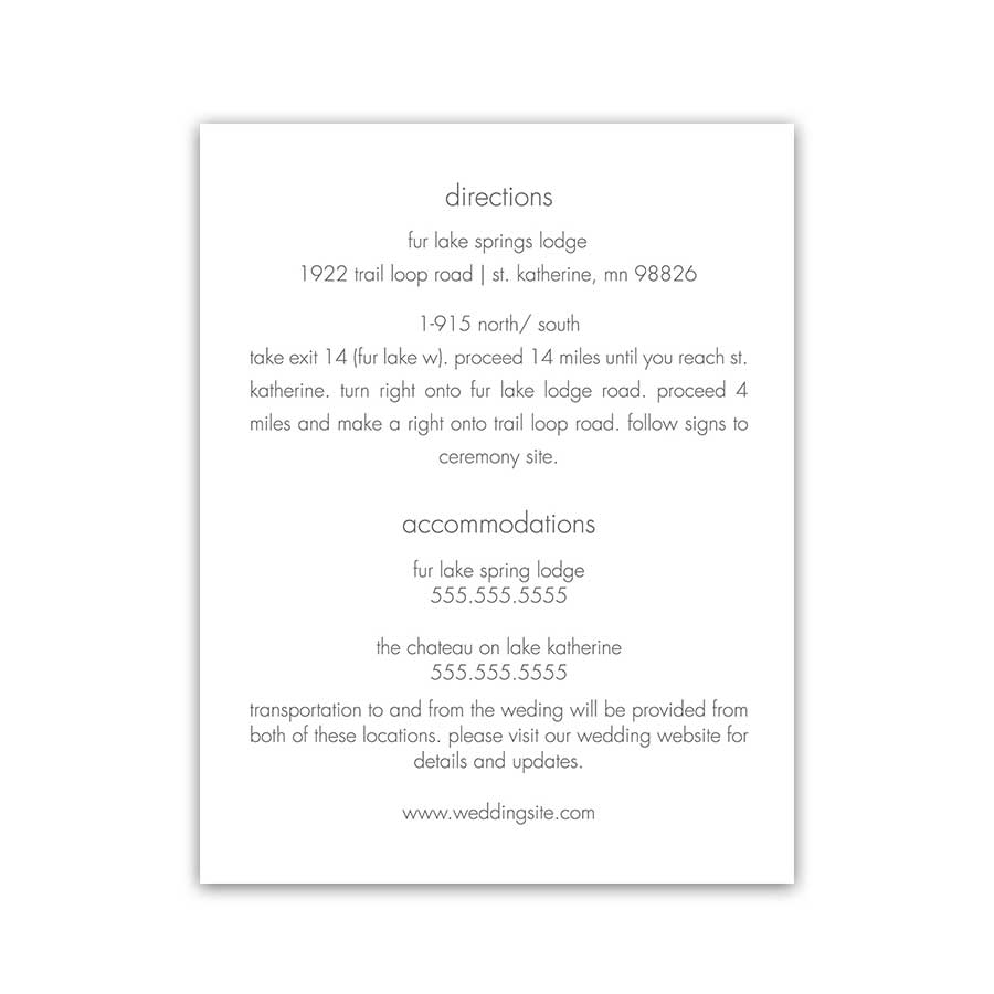 Wedding Invitation Enclosure Cards Winter Theme