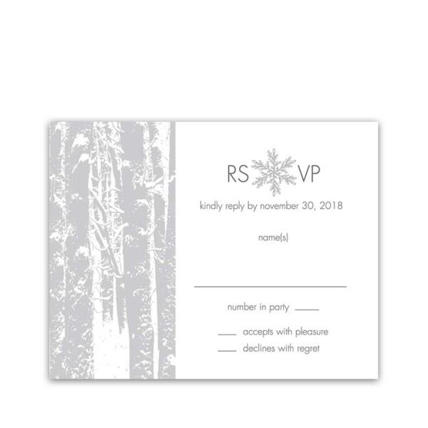 Winter Wonderland Wedding RSVP Reply Cards Trees