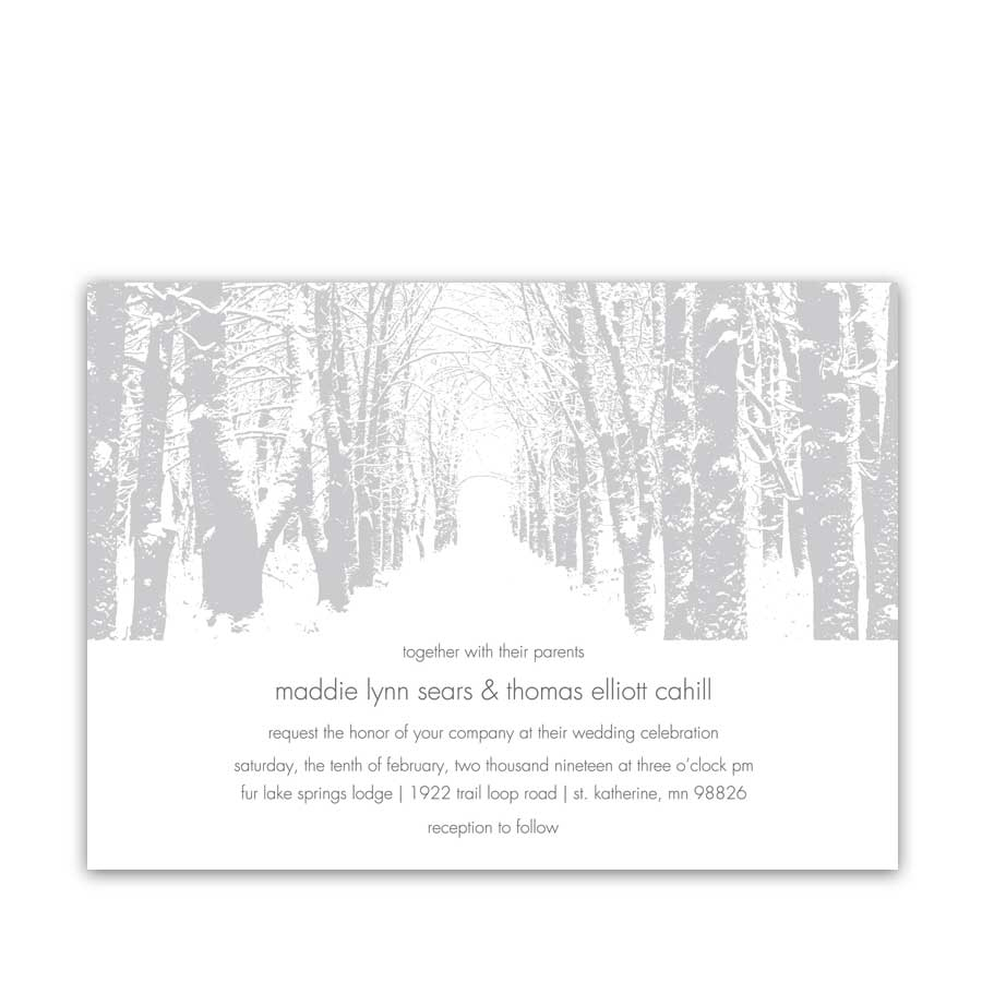 Winter Themed Tree Wedding Invitations Christmas Wonderland