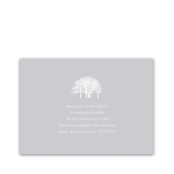 Wedding Reception Details Insert Cards Winter Trees