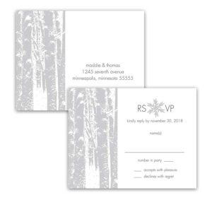 Winter Wonderland Wedding RSVP Postcards Trees
