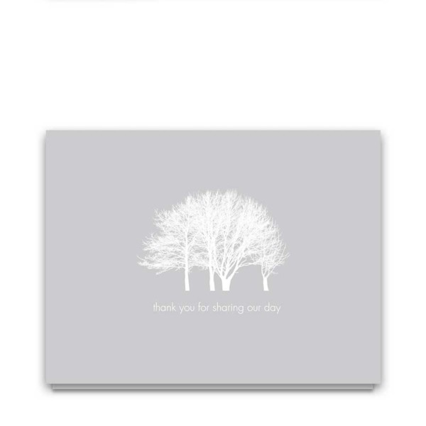 Winter Wedding Thank You Cards Tree Landscape