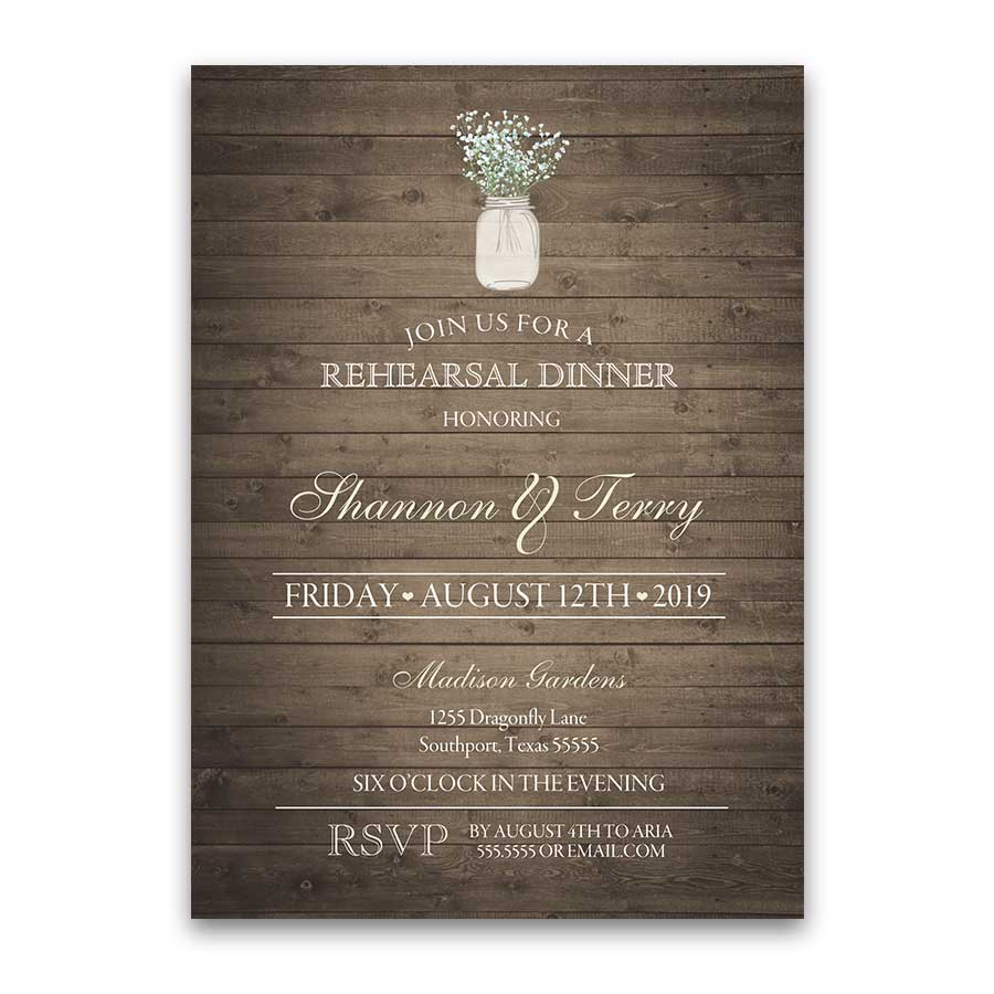Rustic Mason Jar Rehearsal Dinner Invitations Barn Wood