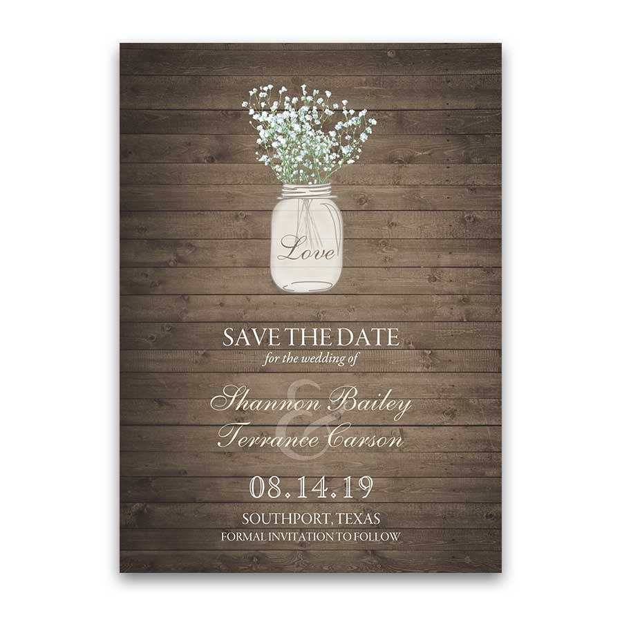 Rustic Wedding Save the Date Cards Mason Jar Style