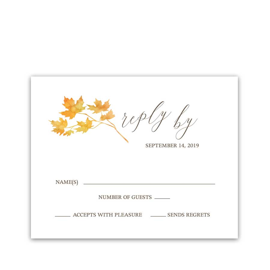 Wedding Rsvp Cards Fall Leaves Watercolor Autumn Wedding