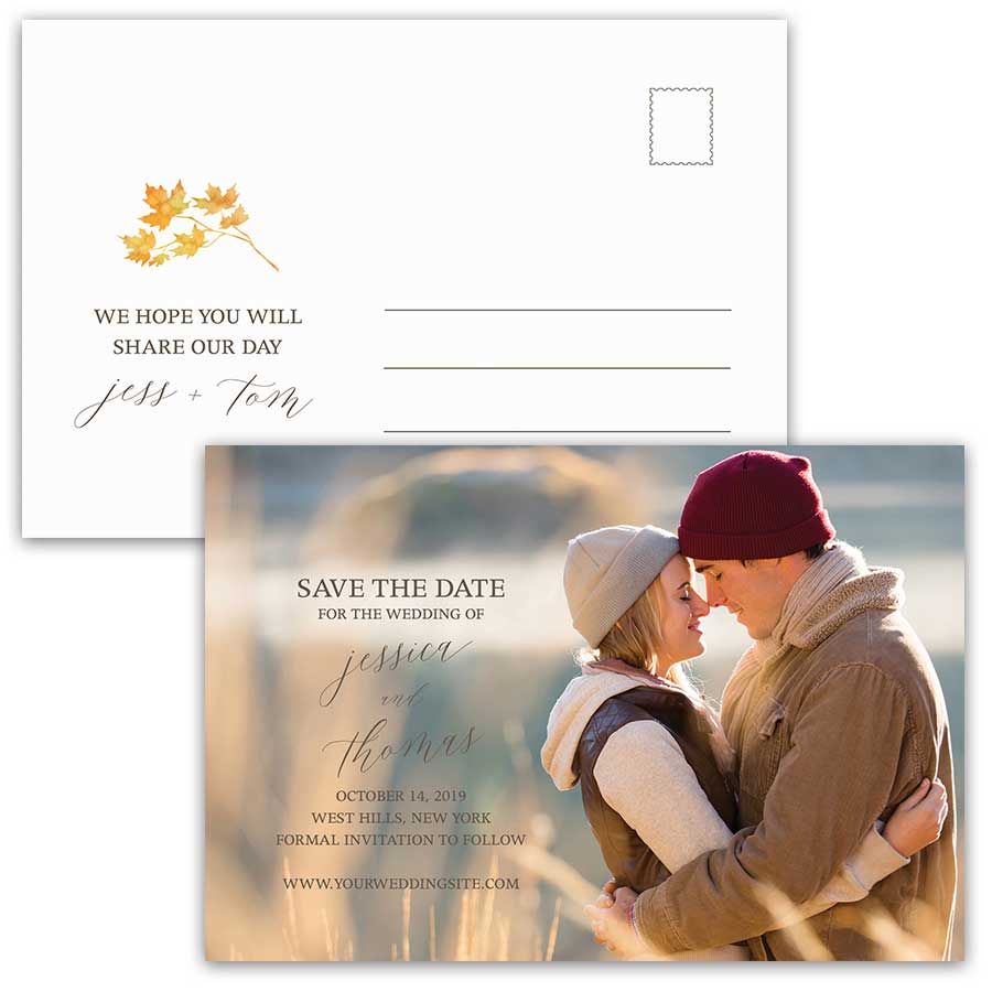 Fall Wedding Save the Date Postcards Watercolor Leaves