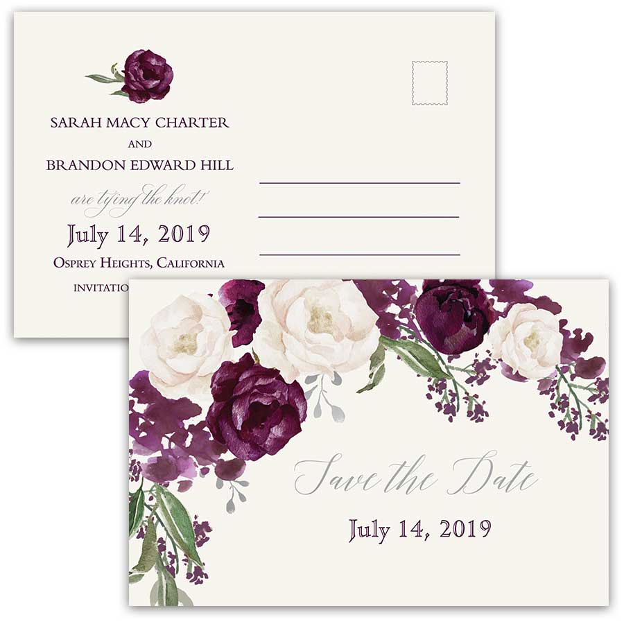 Floral Wedding Save the Date Postcards Purple Plum