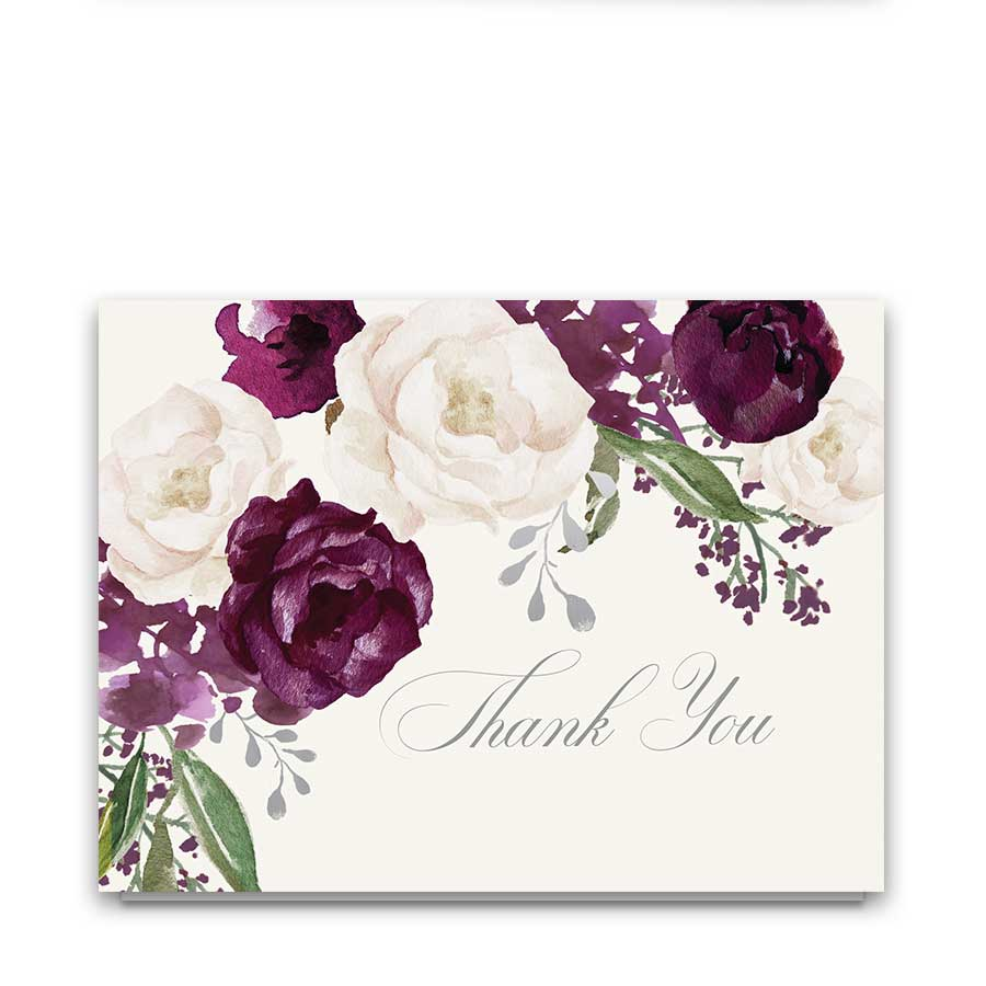 Wedding Thank You Cards Purple Eggplant Greenery Floral