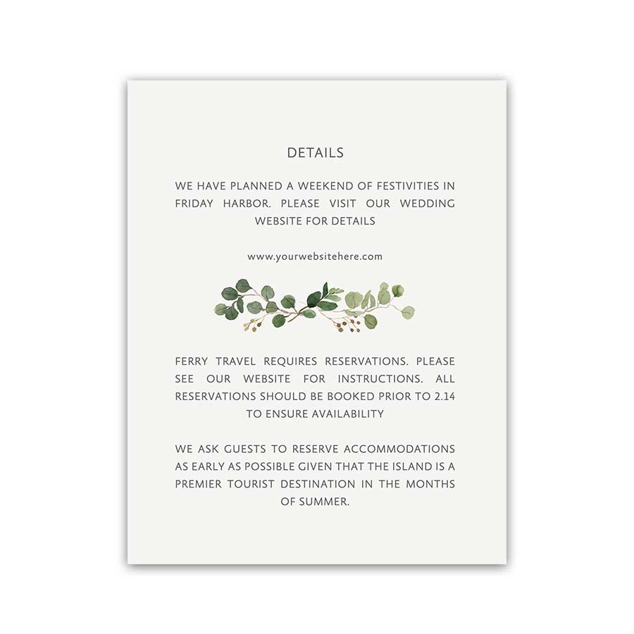Wedding Enclosure Cards Watercolor Greenery Gold