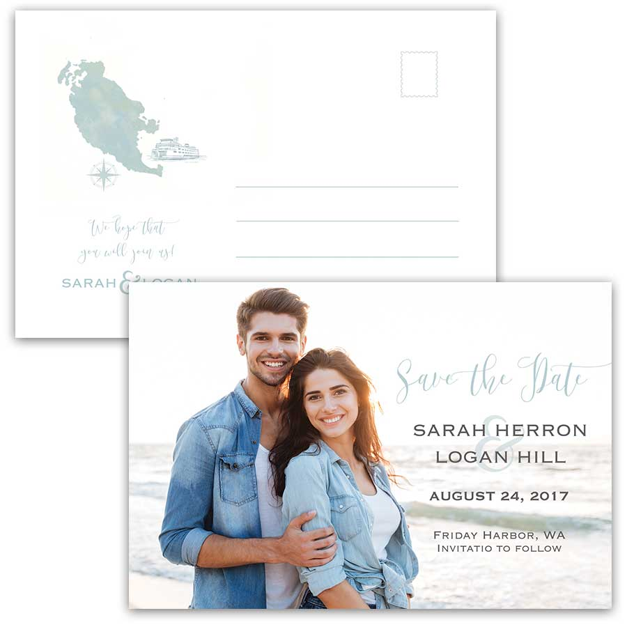 Photo Save the Date Postcards San Juan Island Weddings