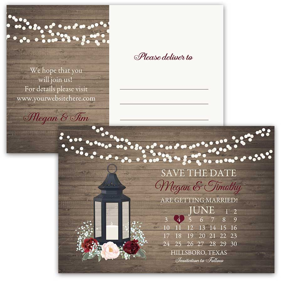 Calendar Style Save the Date Postcards Lantern Florals Theme