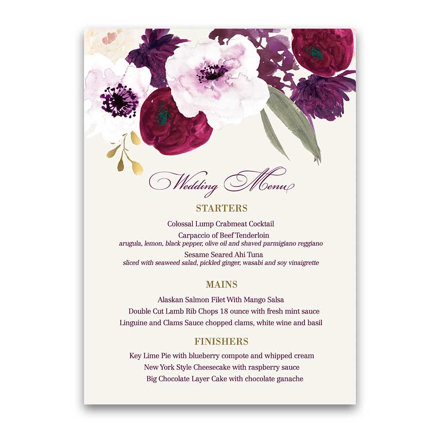 Floral watercolor flowers custom wedding menu wine berry floral watercolor flowers custom wedding menu mightylinksfo