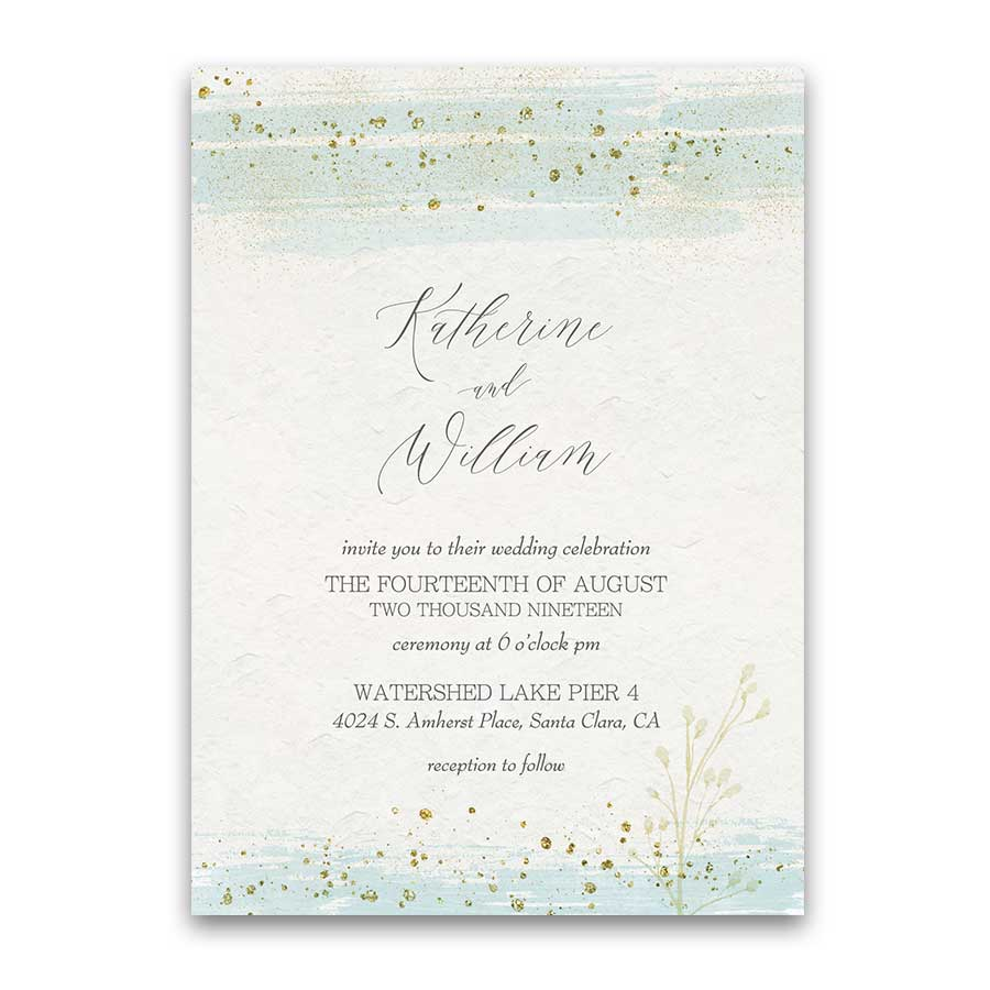 Wedding Invitations Mint Gold Watercolor Modern Sparkle