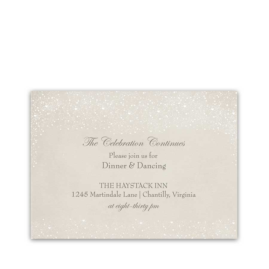 Rustic Winter Wonderland Wedding Reception Details Card